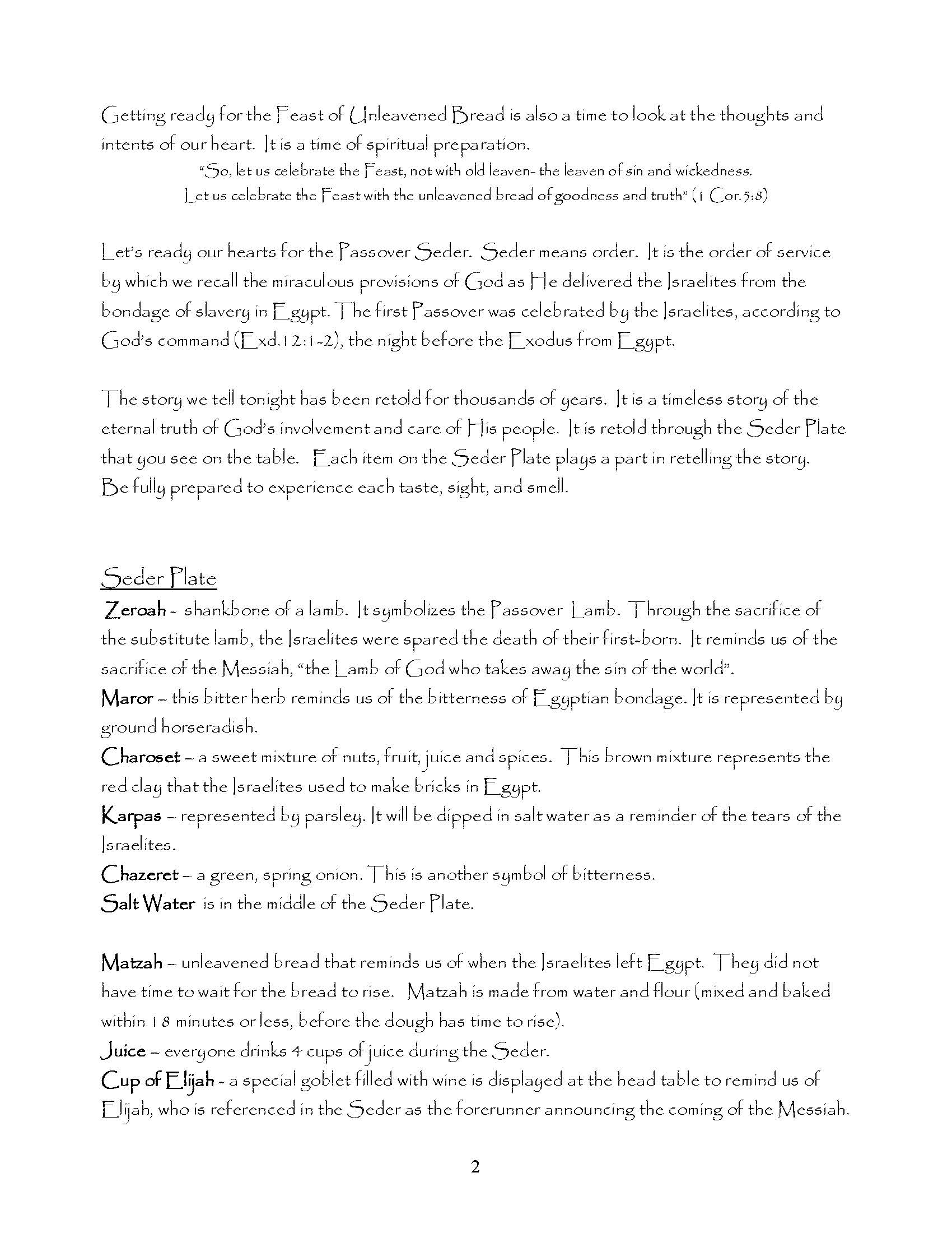 Messianic Passover Seder Printable Pdf Visual Story Bible
